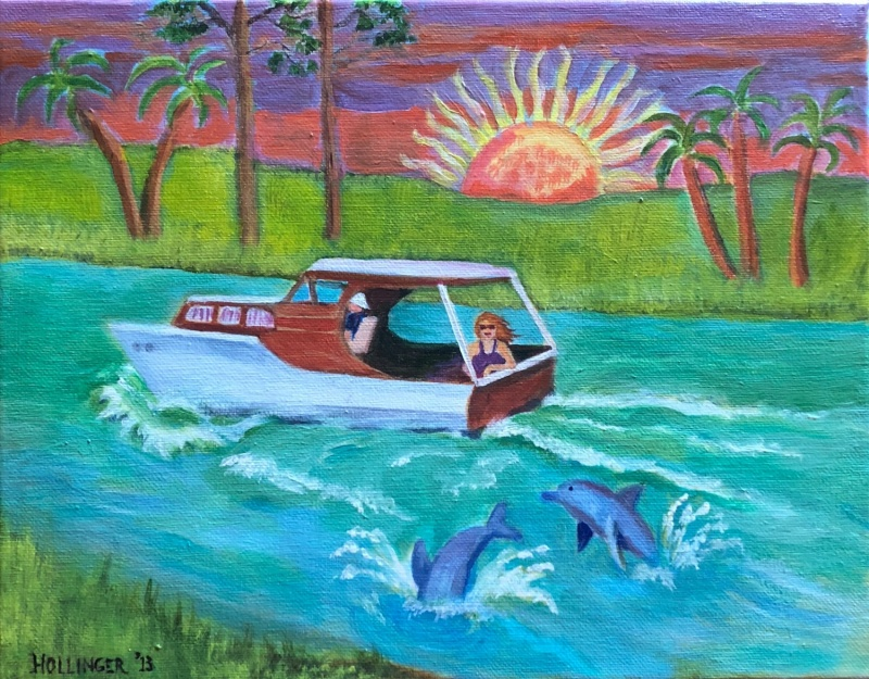 boat and dolphins