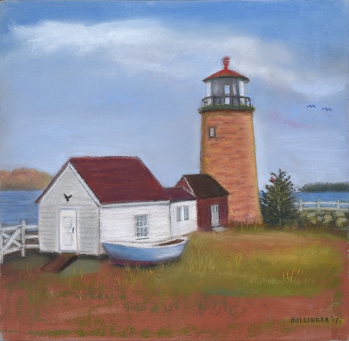 Lighthouse with rowboat by Mary Hollinger