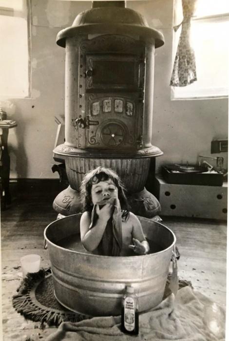 child in washtub